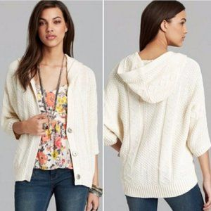 Free People Cable Knot Hooded Cardigan in White